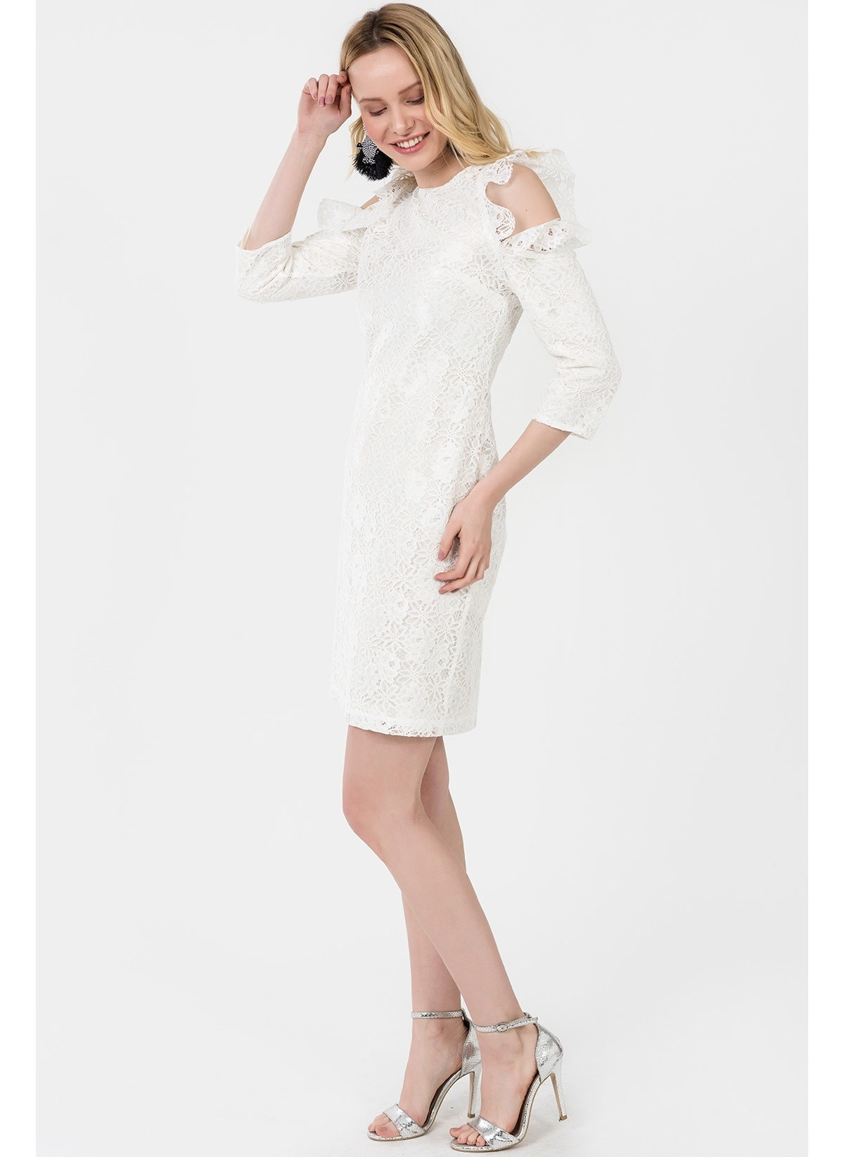 bddb906f59597 İroni Kadın Kol Detaylı Dantel Elbise Ekru | Morhipo | 21619758